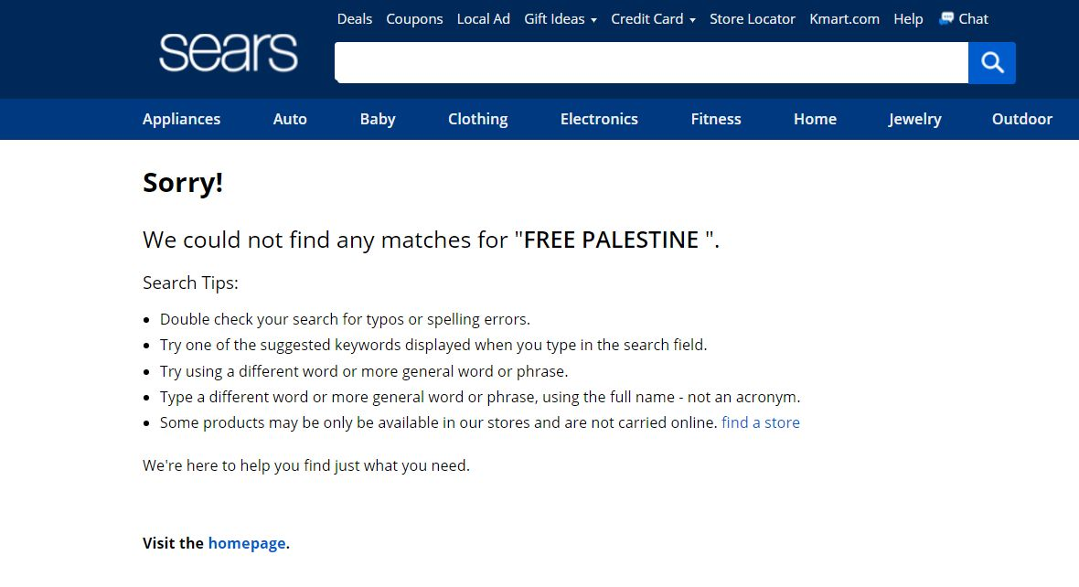 Sears Removes Offensive Free Palestine Items From Their